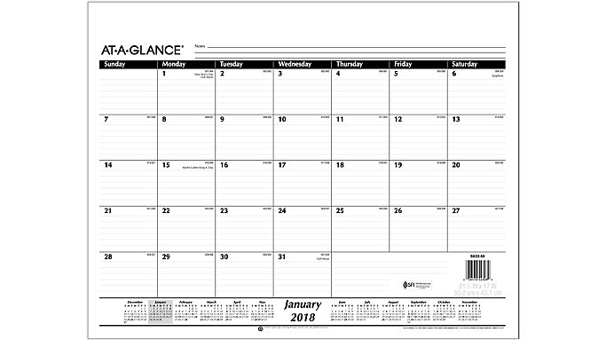 AT-A-GLANCE Monthly Desk Pad Refill for SK22  (SK2250)