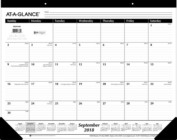 At-A-Glance Academic 16-Month Desk Pad - Academic Planning