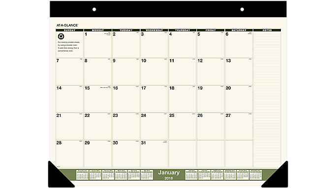 AT-A-GLANCE Recycled Monthly Desk Pad  (SK32G)
