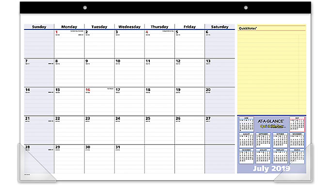 AT-A-GLANCE QuickNotes Compact Academic Monthly Desk Pad  (SK726)