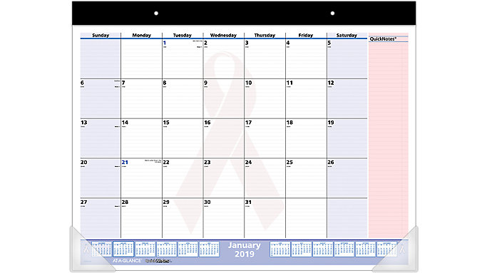 AT-A-GLANCE QuickNotes Breast Cancer Awareness Desk Pad  (SKPN70)
