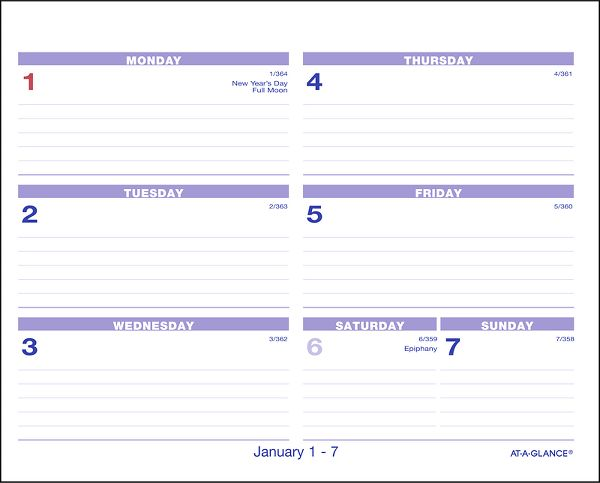 At-A-Glance Flip-A-Week Desk Calendar and Base - Desk Calendars-Bases