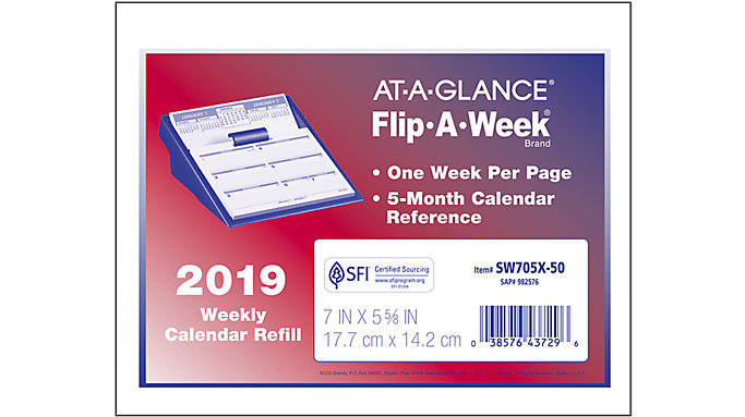 AT-A-GLANCE Flip-A-Week Desk Calendar Refill  (SW705X)