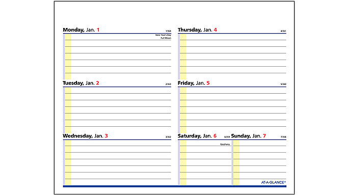 AT-A-GLANCE QuickNotes Flip-A-Week Refill  (SW706)