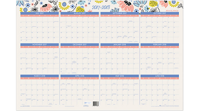 AT-A-GLANCE Claire Academic-Regular Year Erasable Wall Calendar  (W1014-550S)