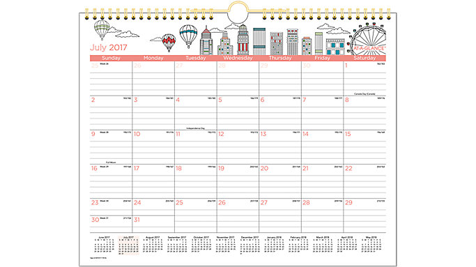 AT-A-GLANCE Paint the Town Academic Monthly Wall Calendar  (W1017-707A)