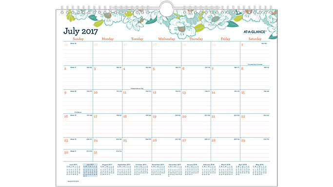 AT-A-GLANCE Mia Academic Monthly Wall Calendar  (W1018-707A)