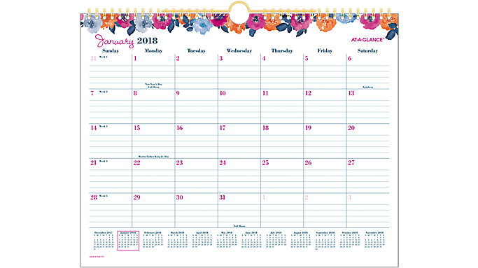 AT-A-GLANCE Eva Monthly Wall Calendar   (W1044-707)