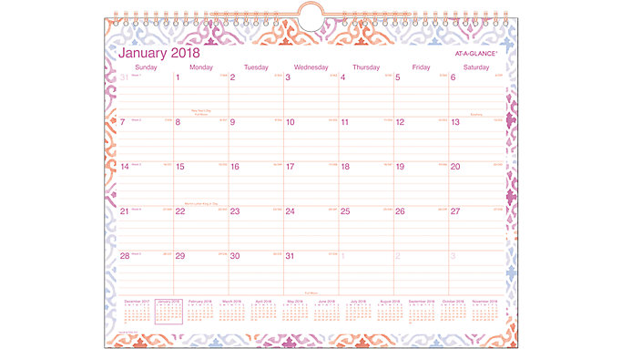 AT-A-GLANCE Cecilia Monthly Wall Calendar  (W1050-707)