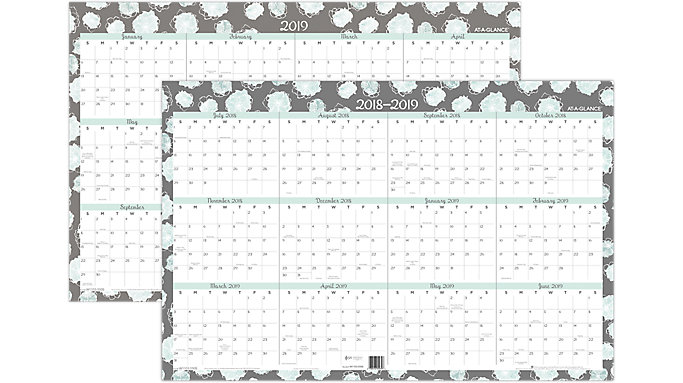 AT-A-GLANCE Mint Flora Academic/Regular Year Erasable Wall Calendar  (W1103-550S)
