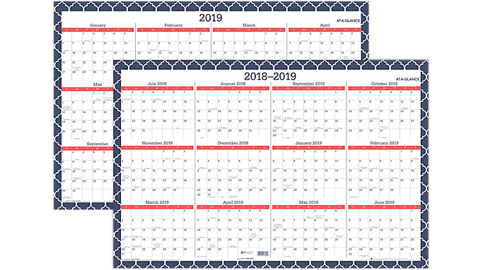 AT-A-GLANCE Emma Morrocan Academic-Regular Year Erasable Wall Calendar  (W1116M-550SB)