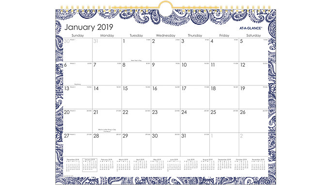 AT-A-GLANCE Paige Monthly Wall Calendar  (W1141-707)