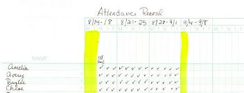 Example of class record page for tracking attendance