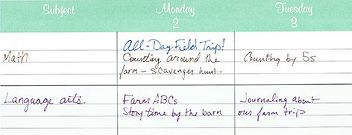 Example of weekly planning pages with vertical orientation.