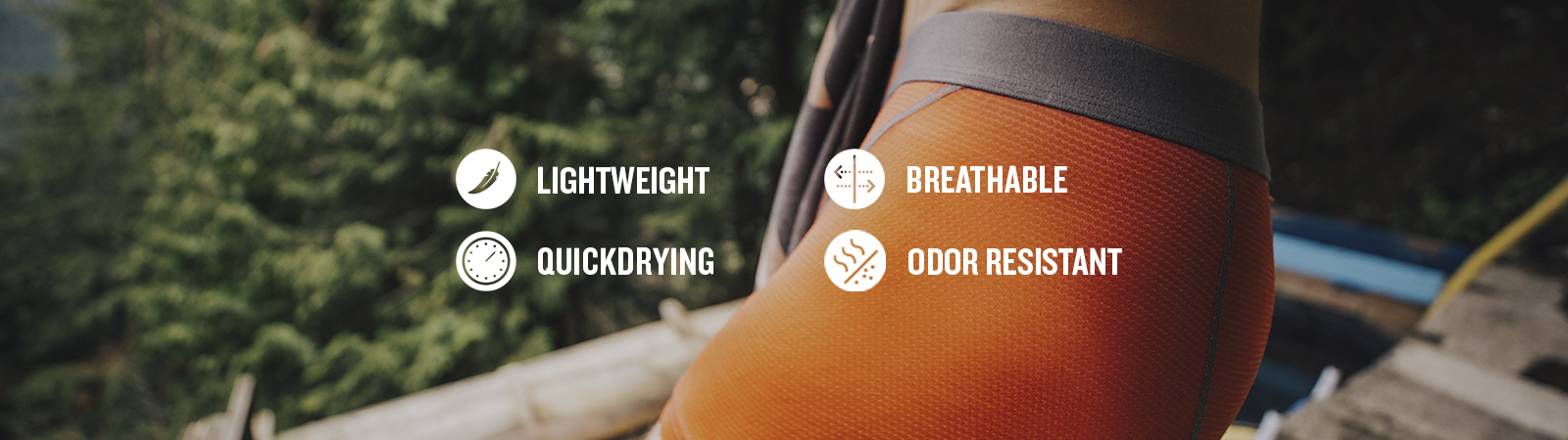 featuring these technologies: lightweight, breathable, quick drying and odor resistant.