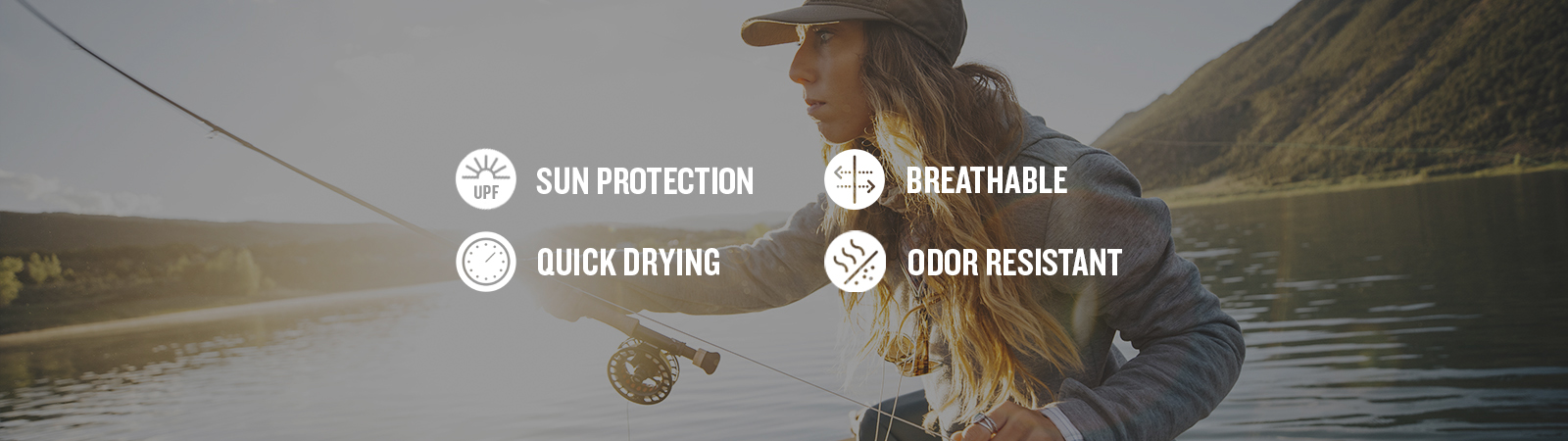 featuring these technologies: sun protection, breathable, quick drying and odor resistant.