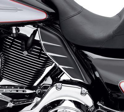 Black+Chrome Mid-Frame Air Deflector W// Trims For Harley Touring FL 2009-2016