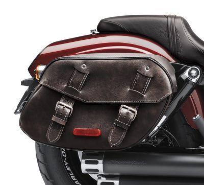distressed black leather saddlebags | saddlebags | official harley