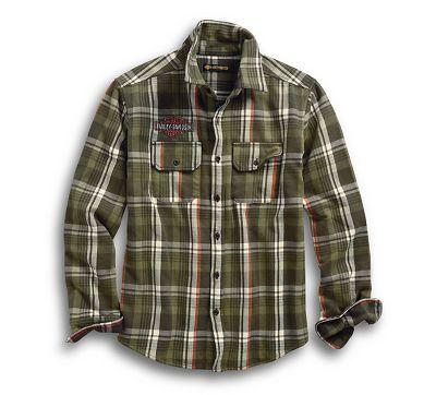 mens logo plaid slim fit shirt 9651319vm harley davidson usa