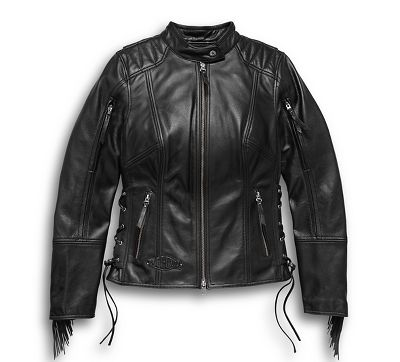 Harley-Davidson Womens Boone Fringed Winged B/&S Patch Leather Jacket 98013-18VW
