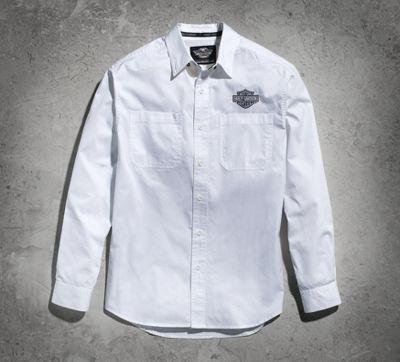 men's white long sleeve logo woven shirt | long sleeve | official