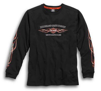 men's black pinstripe flames tee | long sleeve | official harley