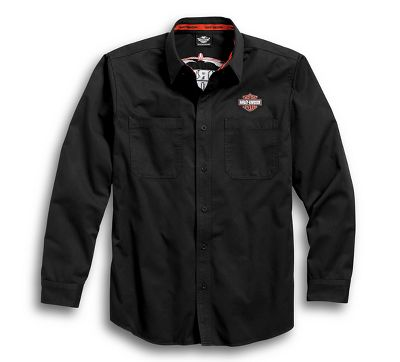 men's black pinstripe flames woven shirt | long sleeve | official