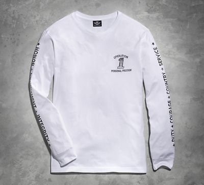 men's harley-davidson white wounded warrior project long sleeve