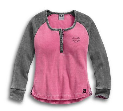 cc2840dd Women's Pink Label Waffle Knit Henley - 9914517VW   Harley-Davidson USA