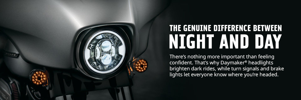 With Harley-Davidson Genuine Motor Parts and Accessories headlamps, brake lights and auxiliary lighting, you get improved visibility in front of you and more attention from all around you.