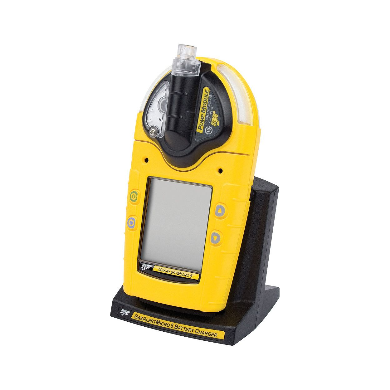 BW_GasAlertMicro_5_Series,_shown_with_pump_and_in_charger