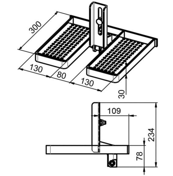 23724 1016231 MillerSystems Soll GlideLoc FoldingFootrest illustration