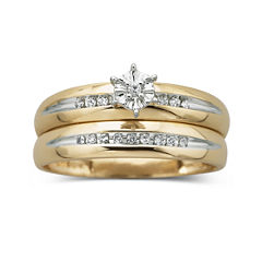 1/8 ct. t.w. Diamond 10K Yellow Gold Bridal Set