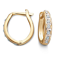 14K Diamond Fascination™ Hoop Earrings