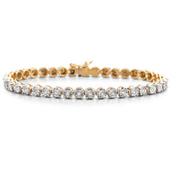 1/2 CT. T.W. Diamond 14K Yellow Gold over Silver Tennis Bracelet