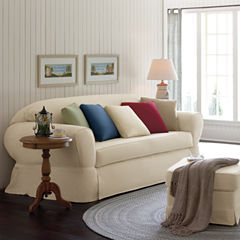 SURE FIT® Cotton Duck Ottoman Slipcover