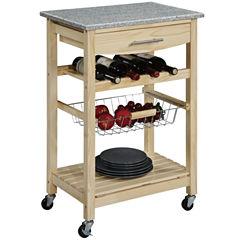 Kitchen Cart, Granite-Top Cart w/ Wine Rack