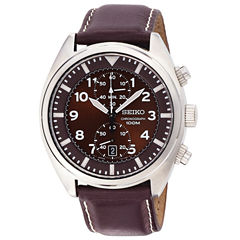 Seiko® Mens Brown Leather Strap Chronograph Watch SNN241