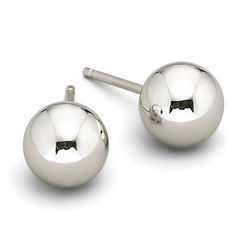 Stud Earrings, 14K White Gold 6mm Ball