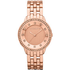 Liz Claiborne® Womens Rose-Tone Watch with Crystals
