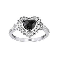 Midnight Black Diamond 1 CT. T.W. Black & White Diamond Heart Ring In 10K White Gold