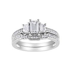 1 CT. T.W. Emerald-Cut Bridal Set 14K White Gold