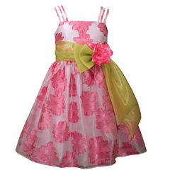 Bonnie Jean Triple Strap Burnout Floral Dress with Organza Band and Bow - Girl's 7-16