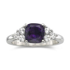 Genuine Amethyst & Lab-Created White Sapphire Sterling Silver Cocktail Ring