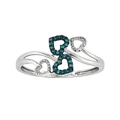 White and Color-Enhanced Blue Diamond-Accent Four-Heart Ring