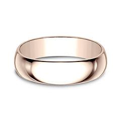 Mens 6mm 14K Rose Gold Wedding Band