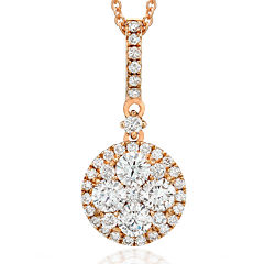 LIMITED QUANTITIES Grand Sample Sale™ by Le Vian® 5/8 CT. T.W. Vanilla Diamonds® 14K Strawberry Gold® Pendant Necklace