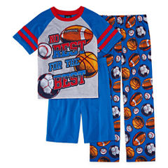 Jelli Fish Kids Boys 3-pc.Sport Short Sleeve Kids Pajama Set-Big Kid