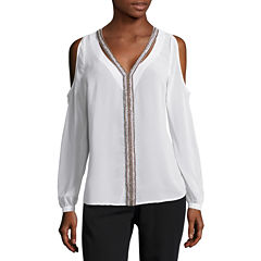 nicole by Nicole Miller Embellished V Neck Top