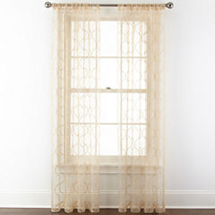 Royal Velvet® Geneva Embroidered Rod-Pocket Sheer Curtain Panel